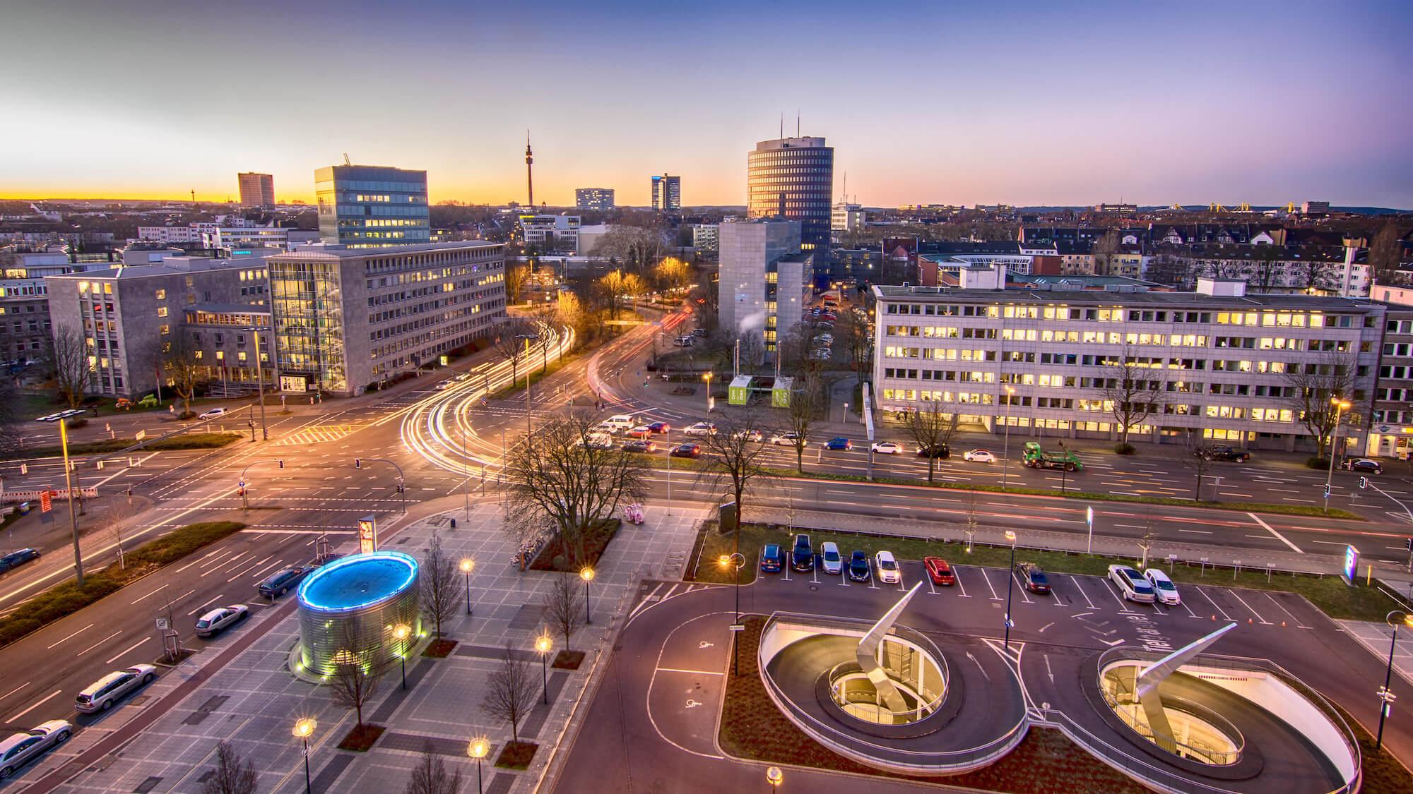 Dortmunder Innenstadt bei Sonnenaufgang