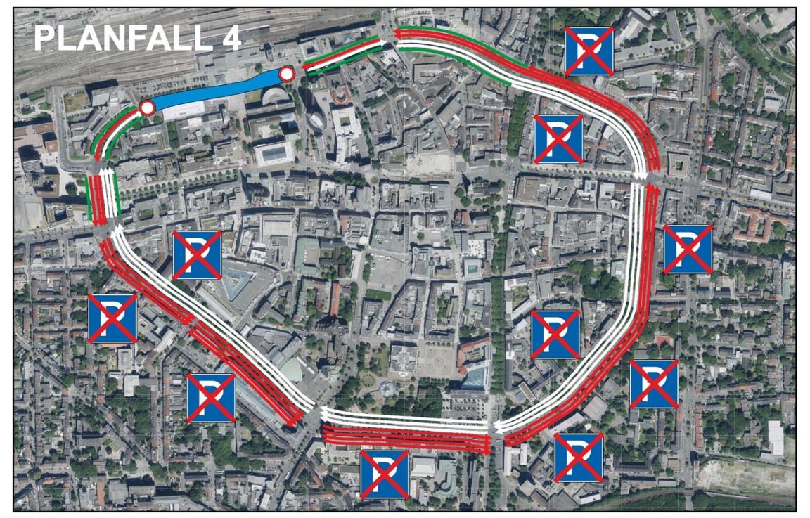 Luftbildaufnahme Dortmunds mit eingezeichneten Fahrbahnen und Parkverbotszonen entlang des Wallrings