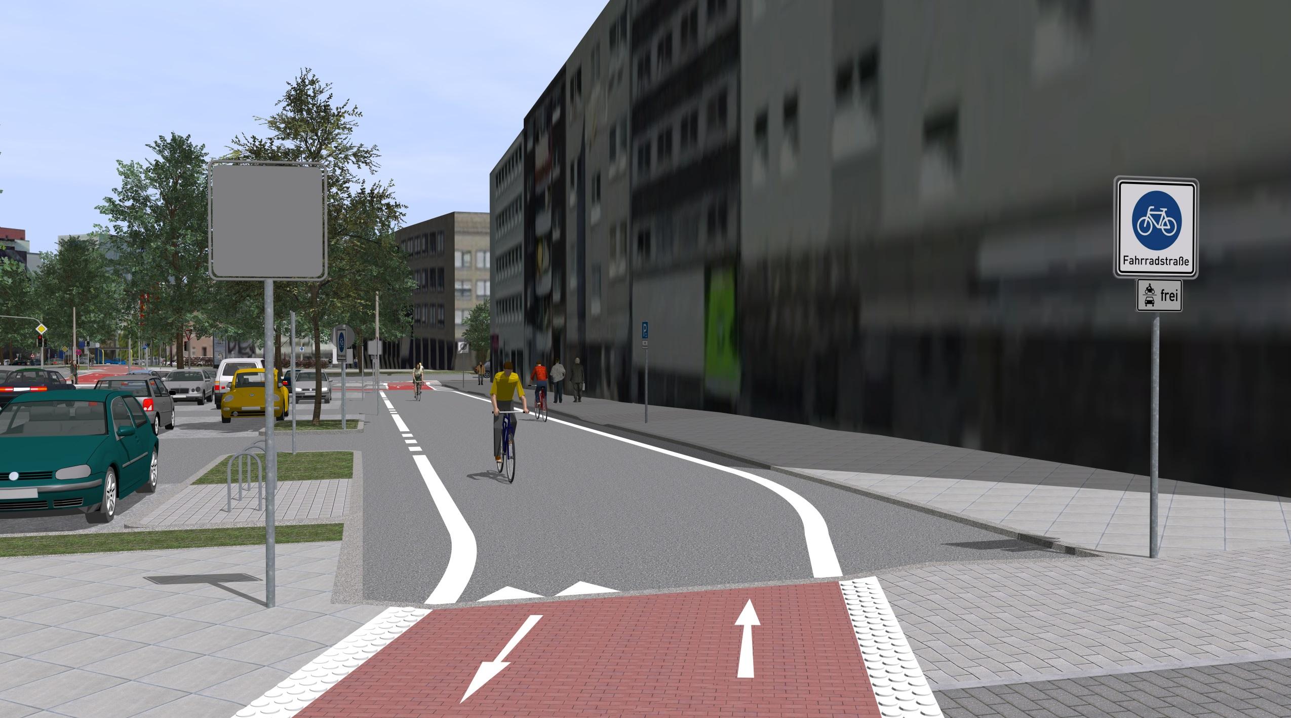 3D-Visualsierung des Radwalls in Dortmund Arndstraße Kaiserstraße