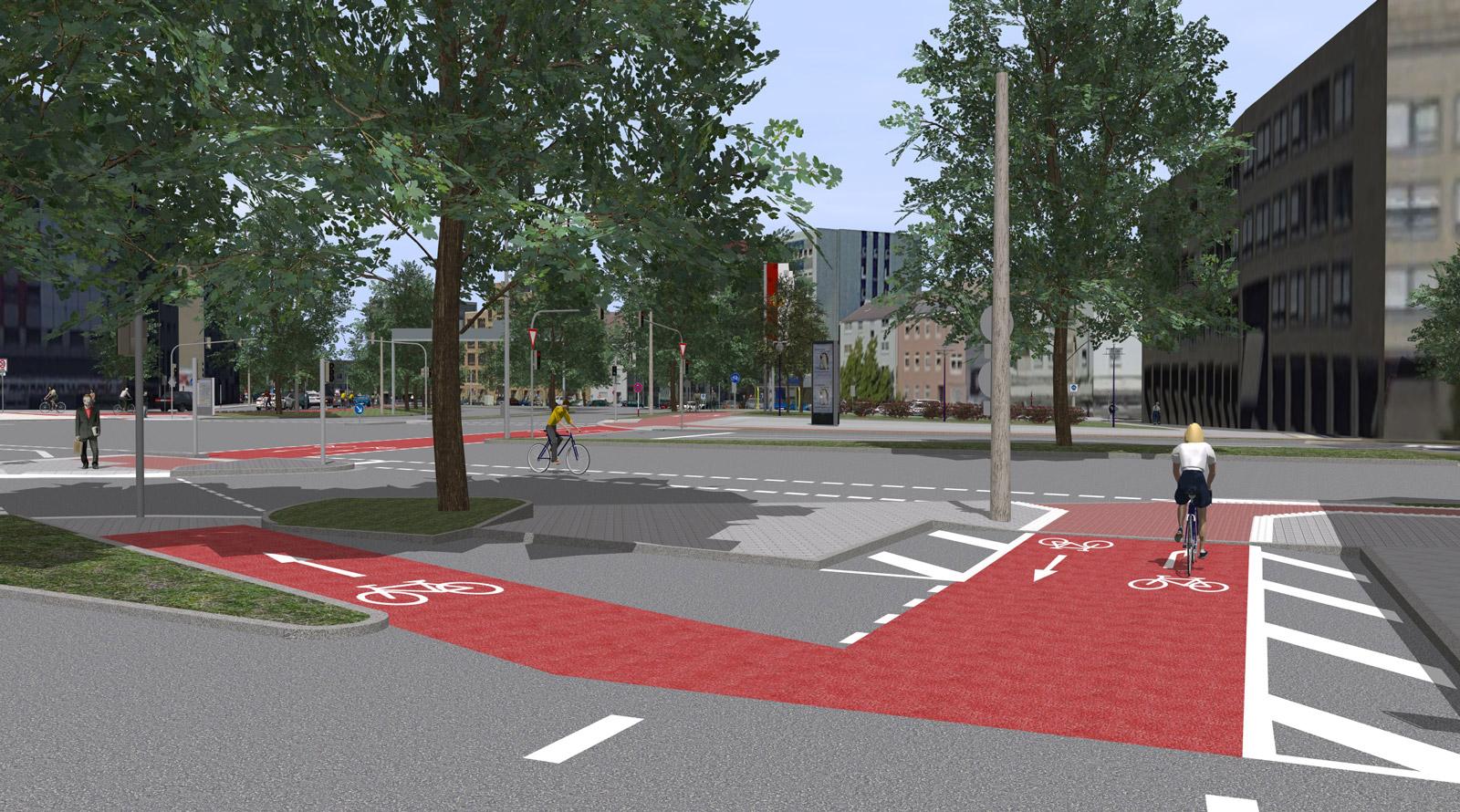 3D-Visualsierung des Radwalls in Dortmund Brüderweg Kaiserstraße