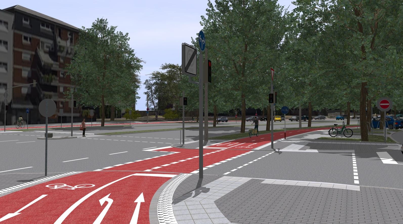 3D-Visualsierung des Radwalls in Dortmund Olpe Ostwall