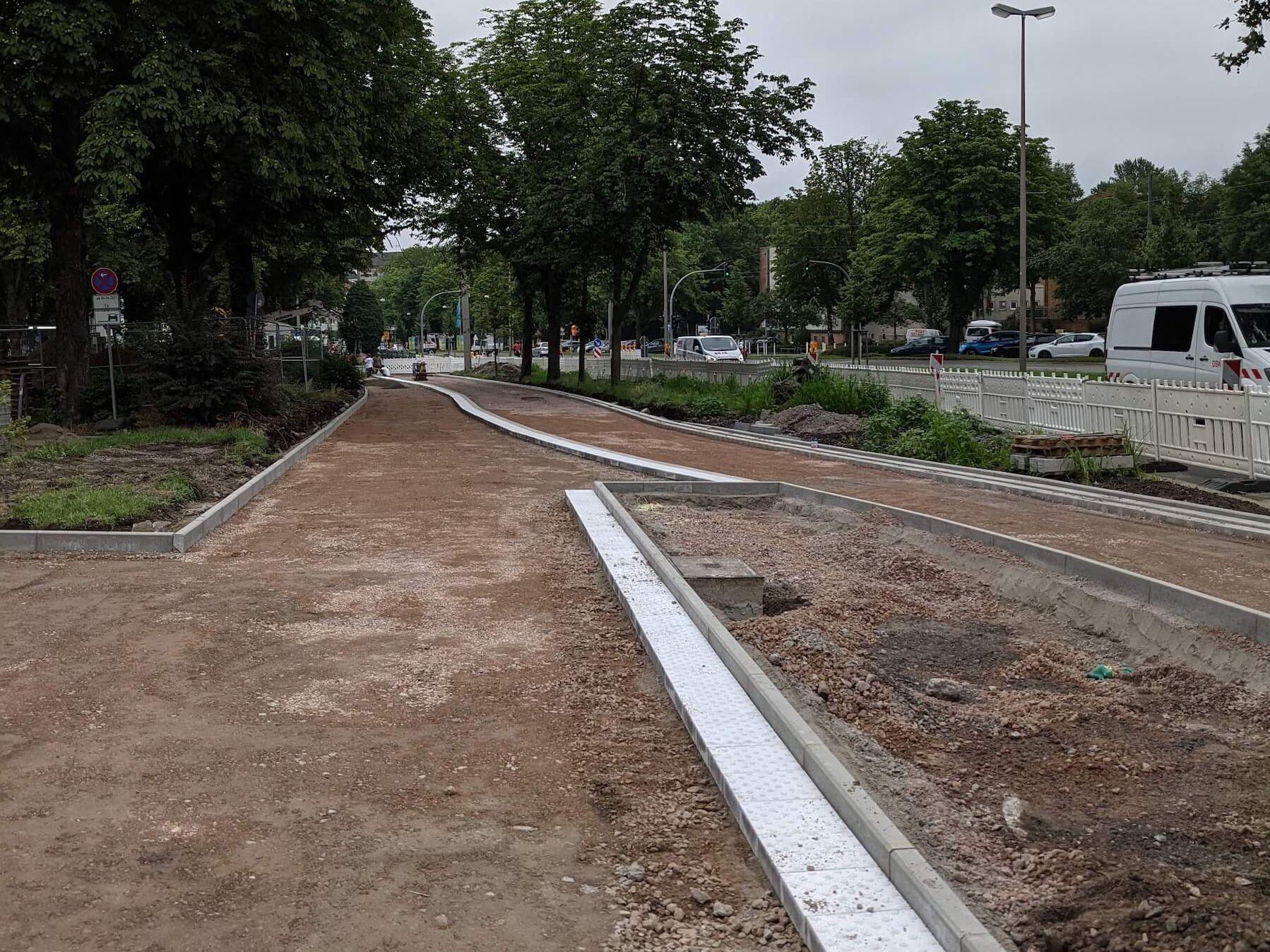 Bauabschnitt zwischen der Straße Rosental und dem Adlerturm