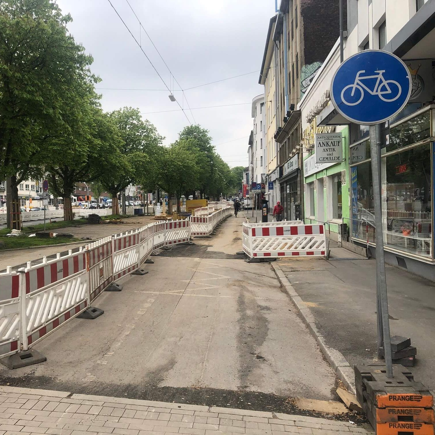 Bauarbeiten der Radverkehrsführung für den Radwall Dortmund im Rahmen des UmsteiGERN-Projekts