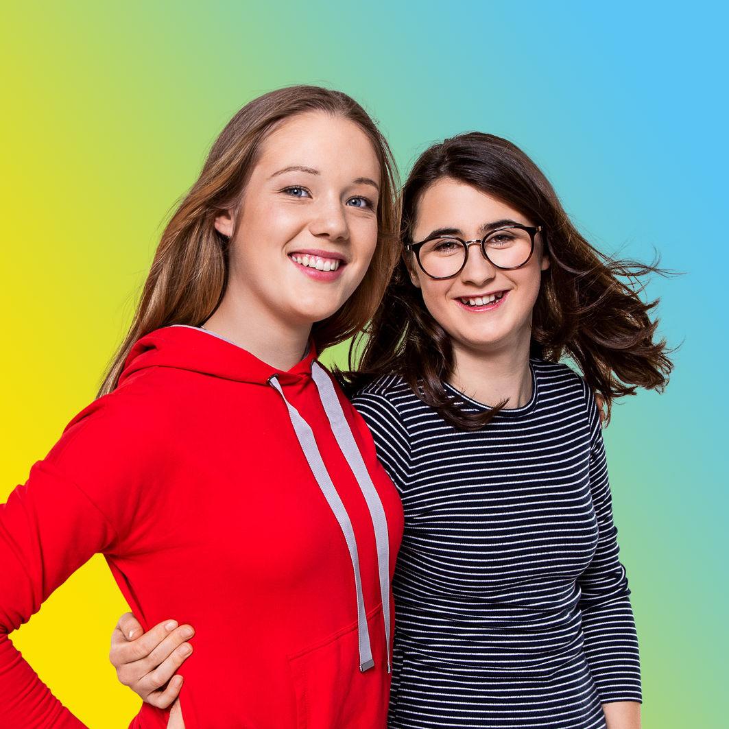 UmsteiGERN-Botschafterinnen Pia und Mia für das Projekt Emissionsfreie Innenstadt