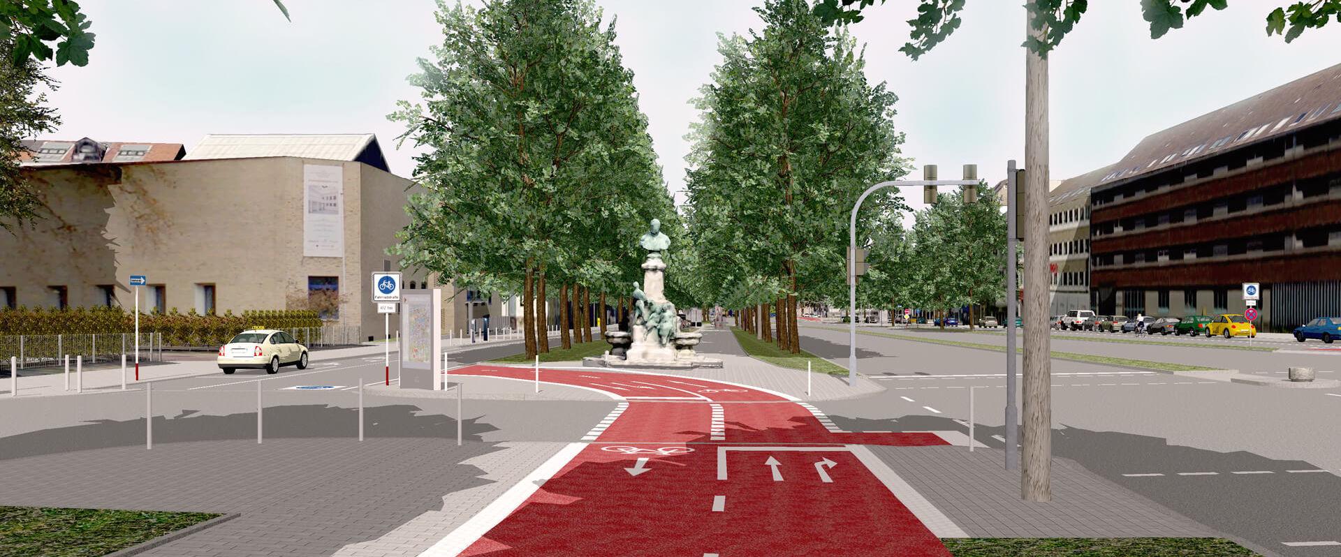 3D-Entwurf für die neue Fahrradstraße am Dortmunder Wallring, der im Rahmen der Emissionsfreien Innenstadt entsteht