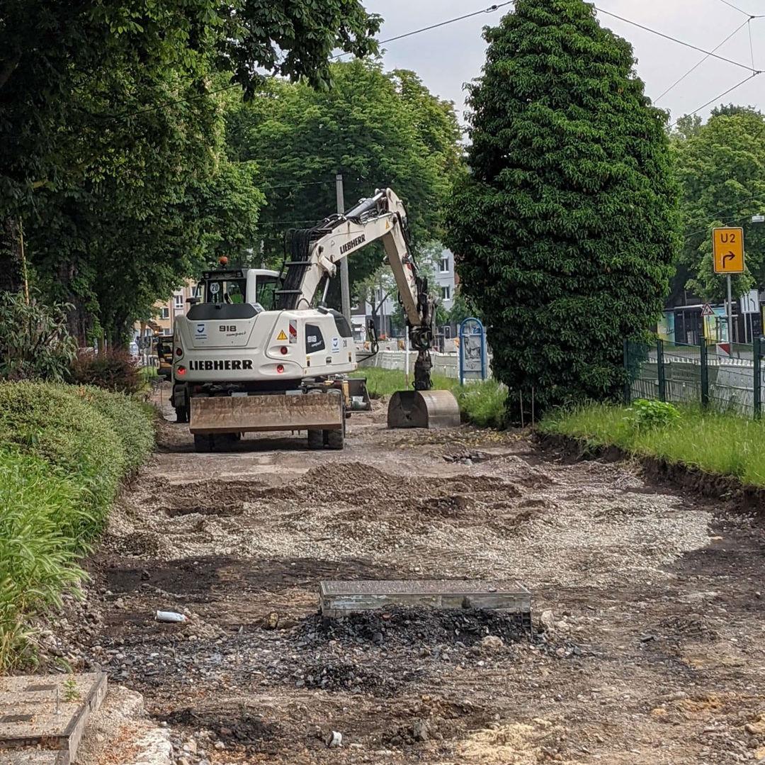 Auf einer Baustelle zwischen Wiesen und grünen Bäumen am Wallring steht ein weißer Bagger und trägt Bodenbelag auf