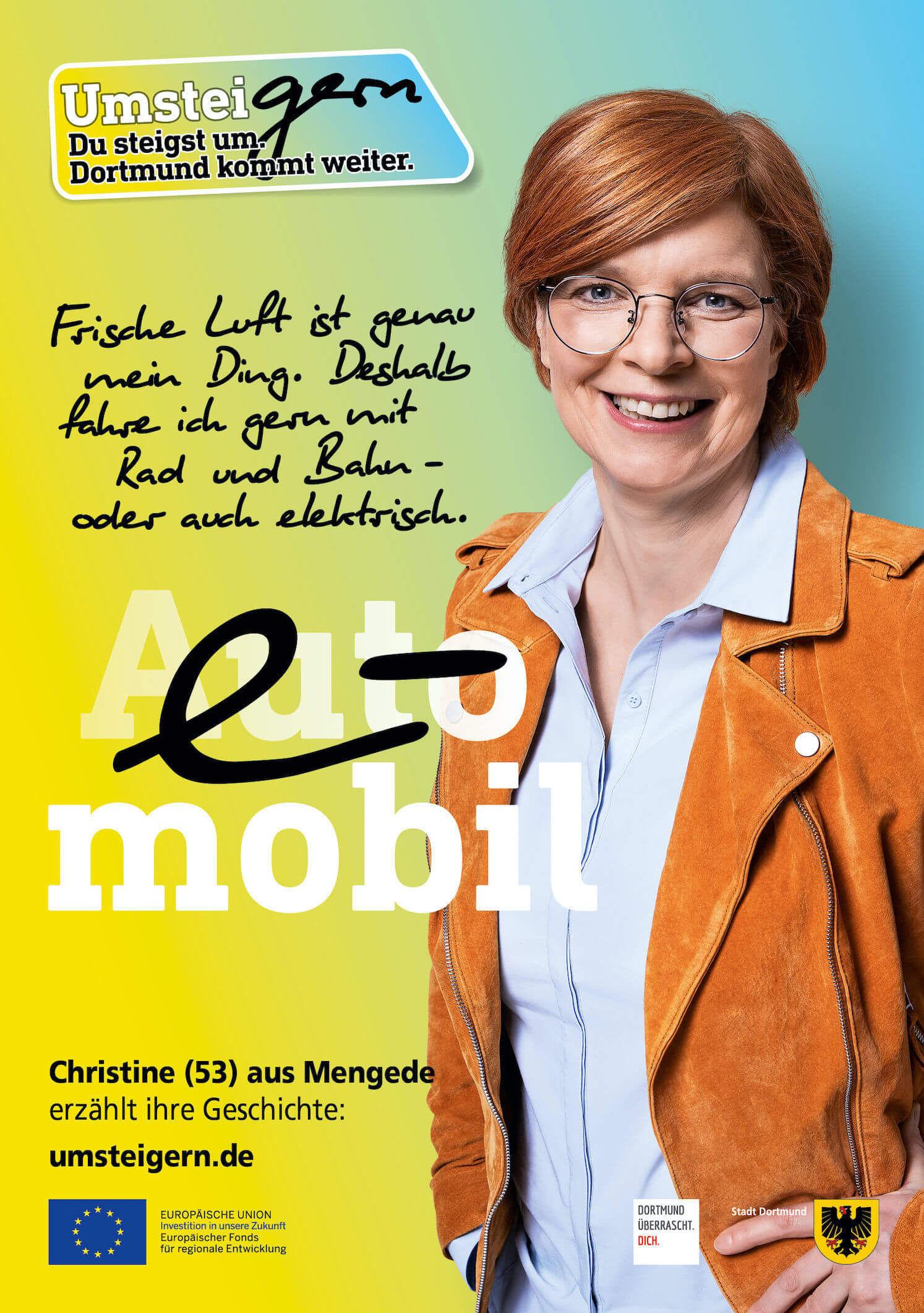 Das UmsteiGERN-Motiv von Botschafterin Christine