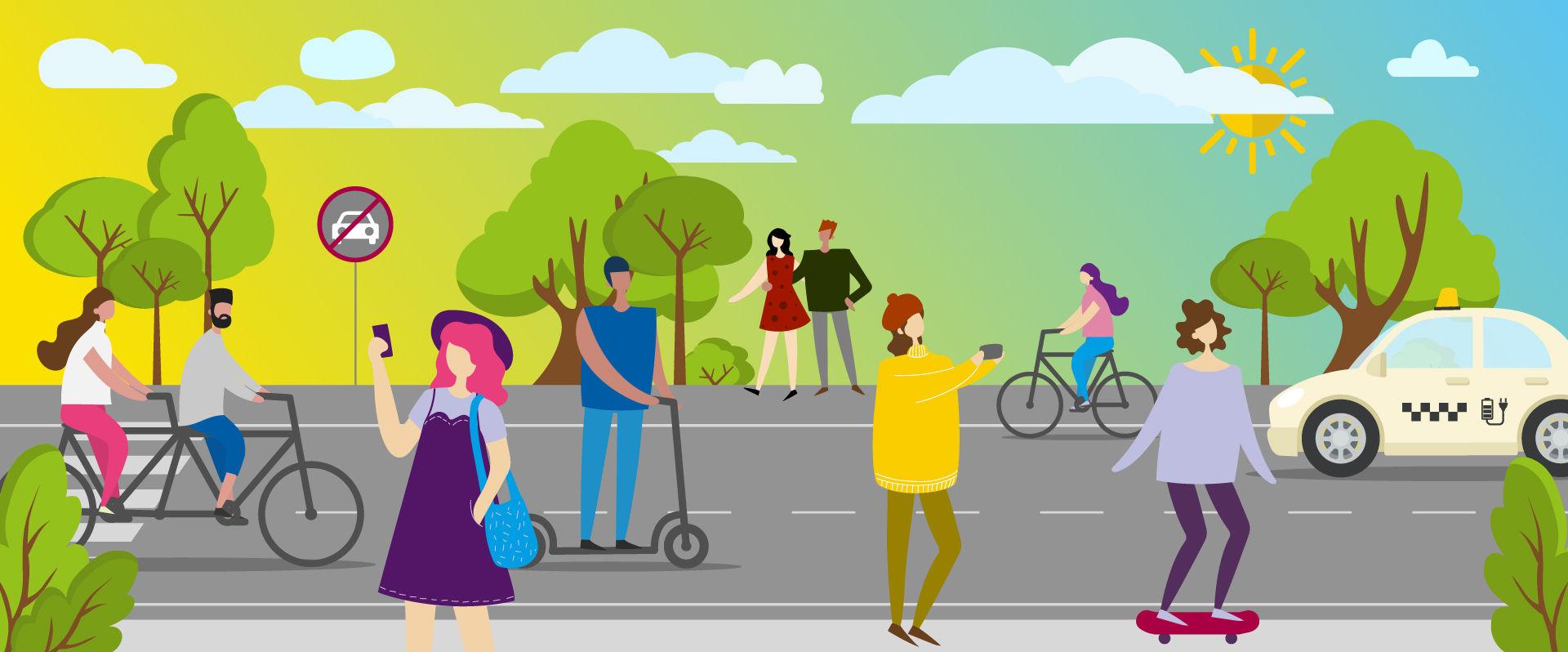 UmsteiGERN-Grafik mit klimafreundlichen Verkehrsmitteln wie Fahrrad oder E-Taxi für das Projekt Emissionsfreie Innenstadt Dortmund
