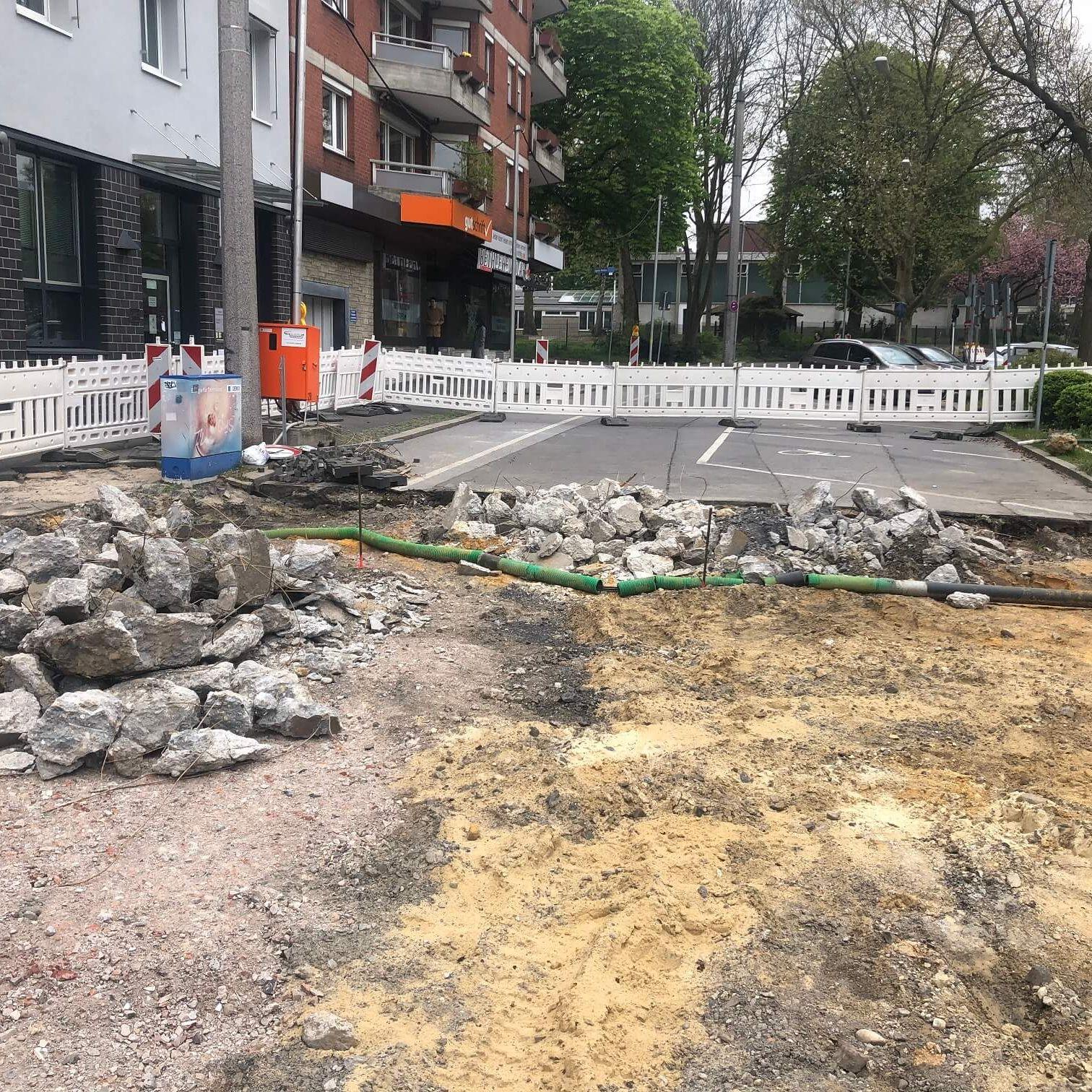 Bauarbeiten für den Radwall Dortmund im Rahmen des UmsteiGERN-Projekts