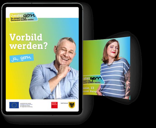 Tablet zeigt VorBild-Generator von UmsteiGERN mit Kampagnenmotiv von Stefanie