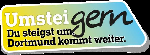 Logo der Kampagne UmsteiGERN mit handschriftlichem 'gern'. Du steigst um. Dortmund kommt weiter.